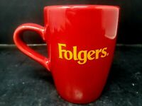 Folgers Coffee Red & Gold Ceramic Coffee Mug Cup Houston Harvest