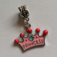 Princess Crown Enamel Charm to fit European Charm Bracelet / Necklace