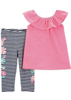 Carter's 2 Pc Baby Girls Leggings and Top Outfit Pink Top/Floral Stripe 9 Mo NWT