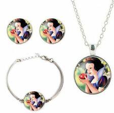 Snow White Princess Glass Domed Pendant Necklace Earring & Bracelet Jewelry Set