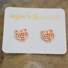 Rose Gold Plated Tiger Head Stud Earrings / Clemson Auburn LSU Tigers!
