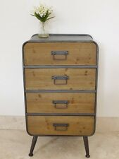 Retro Industrial 4 Drawer Large Wooden/Metal Side Cabinet Small Chest of Drawers