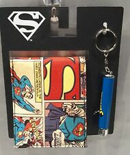 SUPERMAN Comic Wallet and Keychain Projection Flashlight Set - NEW