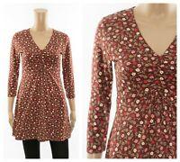 ex Seasalt Ditsy Floral Lemon V-Neck Organic Cotton Tunic Dress