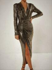 John Zack Sequin Dress  Gold Plunge Wrap