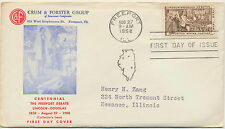 Lincoln Douglas Freeport Debate #1115 1st Crum & Forster Cachet FDC 1958 LOT 771