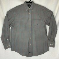 Nautica Mens Black and Red Plaid Button Down Shirt Size Large Long Sleeve Sanded