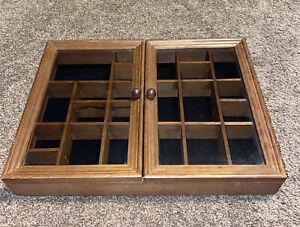 Curio Cabinet Wall Mount Collectible 22 Shelf Trinket Shadow Box 2 Glass Door
