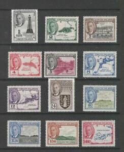 BRITISH VIRGIN ISLANDS KGVI 1952 SET OF 12 L/M/MINT SG;136/47 Cat £50