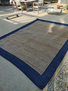 8 x 10 ft $459 NEW Nuloom BOHO Jute cotton Rug Crate and Barrel navy blue