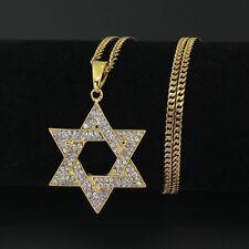 "14k Gold Star Of David Pendant 24"" Cuban Link Chain Necklace Hexagram Hebrew"