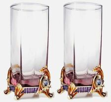 2 RORO Luxury Enameled Tumblers Bohemian & Swarovski Crystal, Wedding Gift Set
