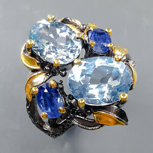 Jewelry Handmade Unqiue Blue Topaz Ring Silver 925 Sterling  Size 6.5 /R164032