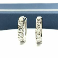 18k White Gold Natural Diamond Clip Huggy Earrings April Birthstone