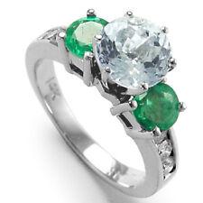 `14K GOLD GENUINE AQUAMARINE DIAMOND ENGAGEMENT RING R964