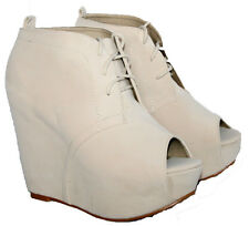 "LADIES 5"" WEDGE HEEL BEIGE LACE UP ANKLE BOOT WITH PEEP TOE IN SIZE 6"