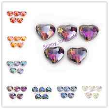 5/10pcs 20x16mm Faceted Crystal Glass Heart Spacer Beads DIY Jewelry Makings