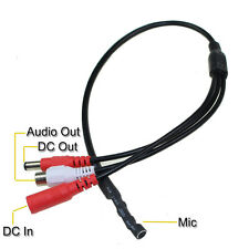 Mini Mic Voice Audio CCTV Microphone Cable RCA Output for Security Camera DVR