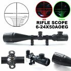 Hunting Rifle Scope W/Rings 6-24x50 AOE Red Green Mil-Dot Illuminated Optics