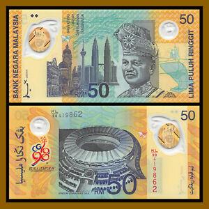 Malaysia 50 Ringgit, 1998 P-45 Come Commonwealth Games In Original Folder UNC
