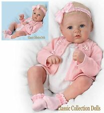 """Ashton Drake """"ANNIKA"""" PERFECT IN PINK-LIFELIKE BABY DOLL-HAND ROOTED HAIR-NEW !"""