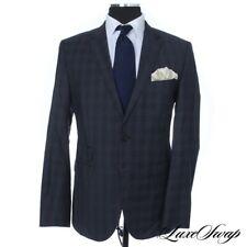 MODERN Hugo Boss Black Label Air Force Blue Kings Model Plaid 2B 2V FF Suit 42 R