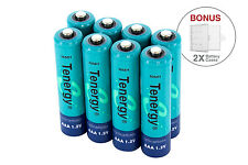 Combo: 8 pcs Tenergy AAA NiMH 1000mAh Rechargeable Batteries + 2 cases
