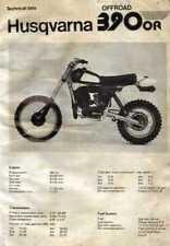 20706s Husqvarna 390 OR Off Road Specifications & Technical Data Sheet 1980