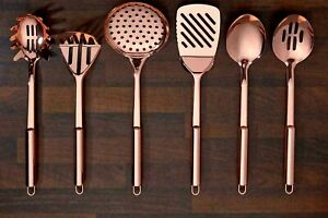 6 Piece Kitchen Tool SET -Stainless Steel Gloss Copper Plated - COOKING UTENSILS