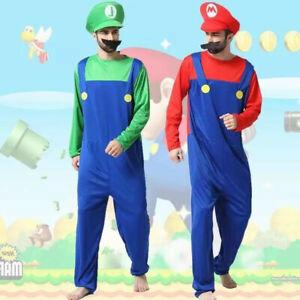 AU Book Week Adult Kids Super Mario Luigi Jumpsuit Hat Moustache Costume Cosplay