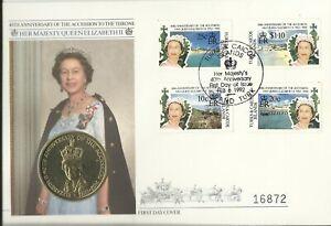 TURKS & CAICOS QE11 1992 ACCESSION 40th ANNIV FIVE CROWNS COIN COVER 16872