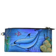 Anna by Anuschka Dolphin  Hand - Painted  Leather Wallet  NWT