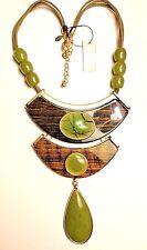 Chico's Malaya Bib necklace Gold tone Green Pendant Big Large suede $69 NWT