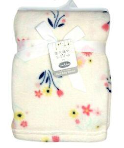 Bon BeBe BABY Girl Floral Flower Soft Cuddly Plush Blanket Beige Lovey Fleece