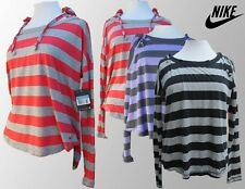 Ladies Nike Hooded Top Shirt Hoody Red Black Purple Stripes S M L XL BNWT
