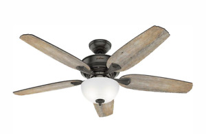"Hunter Channing 54"" LED Indoor Noble Bronze Ceiling Fan w/ Light Kit"