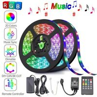 5M 10M 3528 5050 RGB LED Strip Light Music Sound Activated Remote 12V Power Kits