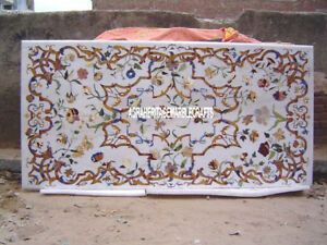 White Marble Dining Top Table Marquetry Inlay Antique Art Furniture Decor H4029