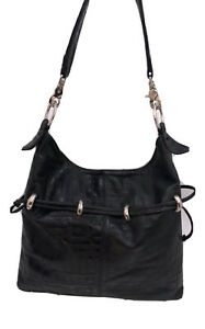 BOHO Black Leather Embossed with Geometric Pattern XL Hobo Slouch Shoulder Bag