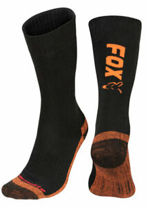 Fox Black / Orange Thermolite Long Socks NEW Fishing Thermal Socks *All Sizes*