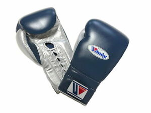 Winning Boxing gloves Lace up 16oz Navy x Silver from JAPAN FedEx tracking NEW-A