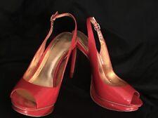 Bebe Red Platform Pep Toe Slingback Heels Size 10