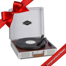 Giradischi Valigetta Vintage Vinili Bluetooth Cassa Altoparlante Audio Silver
