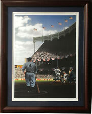 Bill Purdom Signed Babe Ruth Lou Gehrig Yankee Stadium Ws 1927 Litho Framed LE
