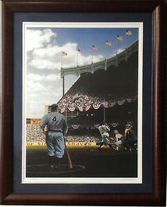 Babe Ruth Lou Gehrig Yankee Stadium 1927 WS Litho Framed LE Bill Purdom Signed