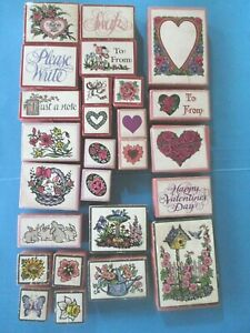 PSX Foam Mounted Rubber Stamps FLOWERS Hearts GARDEN Sentiments EASTER