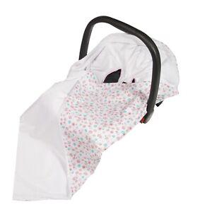 Cotton & Soft Plush Baby Car Seat Wrap / Blanket - mint & pink flowers + white