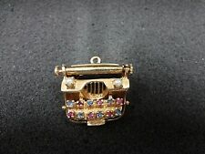a663 14k Yellow Gold Typewriter with Colored stone Keys Charm or Pendant