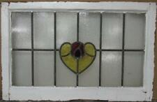 "OLD ENGLISH LEADED STAIN GLASS WINDOW TRANSOM Pretty Heart & Flower 30.75"" x 20"""