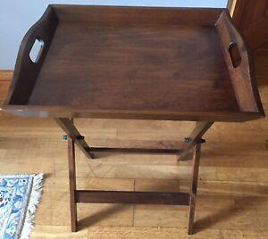LAURA ASHLEY - Garrat Butler's Tray, Dark Chestnut, Birch Wood, H66xW52xD43cm
